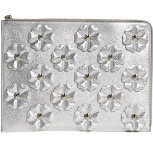 Fendi Clutch Studded Flowers Calfskin Silver